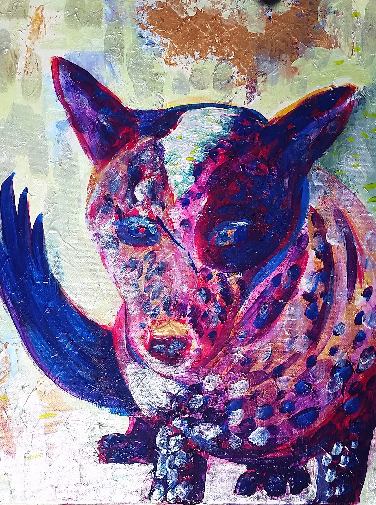 <p>May 2 is a portrait of a blue heeler rescue named May. She lives in a farm on Florida and is about three years old. I used fluid acrylics and iridescent acrylics on canvas applied with brushes and palette knives. I really enjoyed experimenting with different colors and using different [&hellip;]</p>